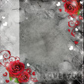 Greeting card with red roses and hearts on the grey background — Stock Photo