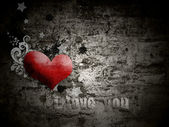 Grunge background with the words I love you — Stok fotoğraf