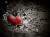 Tło grunge z napisem kocham cię — Zdjęcie stockowe