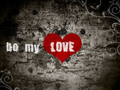Grunge background with the words be my love — Стоковое фото