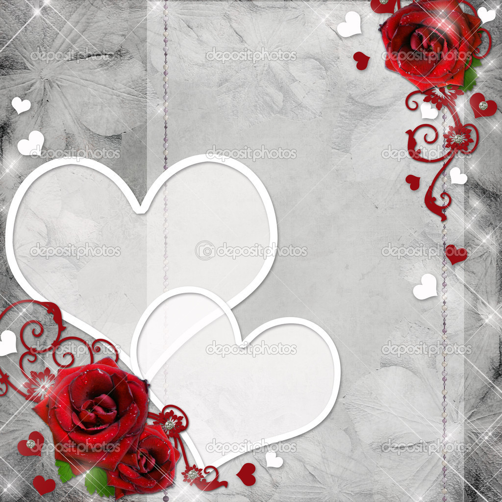 Greeting card with red roses and hearts on the grey background  — Stock Photo #7498660