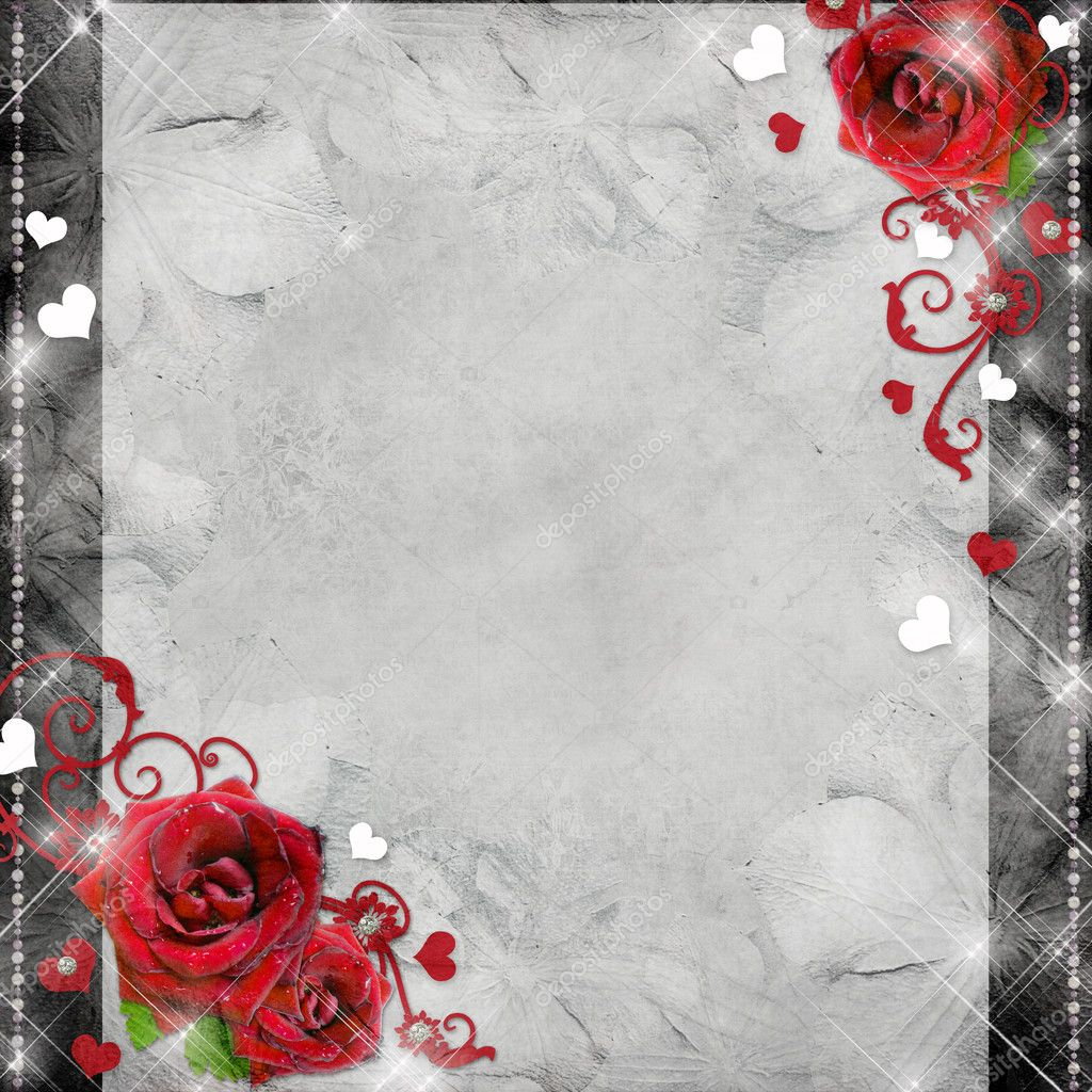 Greeting card with red roses and hearts on the grey background (1 of set) — Stock Photo #7498789