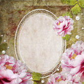 Retro floral background with frame and flowers — Stock Photo