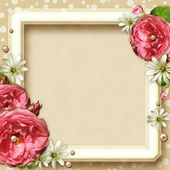 Vintage Photo Frame with roses — Stock Photo