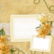 Card for invitation or congratulation with  lilies — Stock Photo #7674171