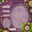 Stok fotoğraf: Vintage glass frame on grunge background with flowers in scrapb