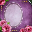 Vintage glass frame on  grunge background with flowers in scrapb — Stock Photo