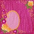 Oval yellow frame in scrapbooking style with rose — ストック写真