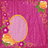 Oval yellow frame in scrapbooking style with rose — Stock Photo
