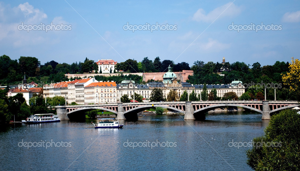 Praha architecture. River Vltava  Stock Photo #7136801
