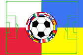 Bal met veld in kleuren van polen en oekraïne — Stockvector
