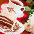 Tea, cake and white chrysanthemums, still life — Stock Photo