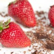 Stock Photo: Appetizing fresh strawberries with grated chocolate