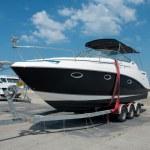 Pleasure boat on the dock, sunny summer day — Stock Photo