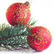 Christmas decoration, pine branch and red balls  isolated on white — Stock Photo