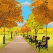 Autumn park — Stockvectorbeeld