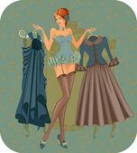 Beautiful woman in corset — Stock Vector