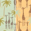 Giraffes seamless patterns - Stock Vector
