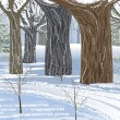 droom winter forest — Stockvector