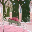 Spring pink forest — Vector de stock