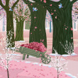 Spring pink forest - Stock vektor