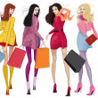 Stock Vector: Beautiful shopping girls