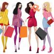 Beautiful shopping girls — Stock Vector