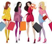 Belle ragazze dello shopping — Vettoriale Stock