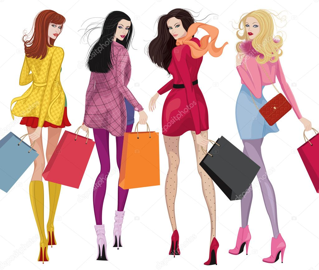 Four beautiful young women with shopping bags over white background — Stock Vector #7787704