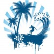 Palm and surfing on waves in grunge style - Stockvectorbeeld