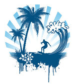 Palm and surfing on waves in grunge style — Stock Vector