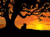 Silhouette of couple in love to tree at sunset — Stock Vector