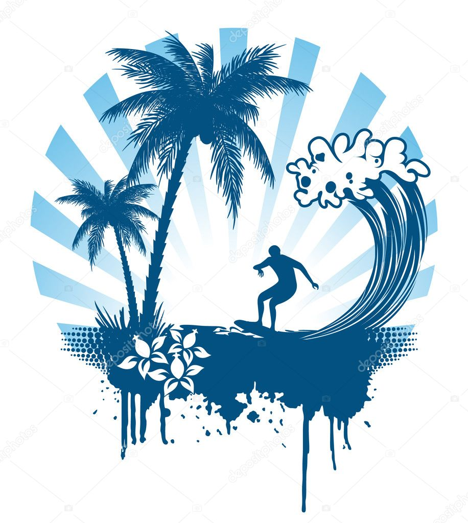 Palm and surfing on waves in grunge style stock vector - Dibujos para tablas de surf ...