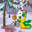 Royalty-Free Stock Vector Image: New Year\'s card with image of dragon in wood