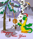 New Year's card with image of dragon in wood — Stock Vector