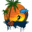 Silhouette of palm and surfer on tropical sunset — Stock Vector #7785288