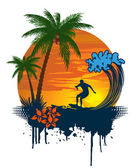 Silhouette of palm and surfer on tropical sunset — Stock Vector