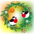 Christmas wreath and bullfinch — Stock Vector