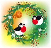 Camachuelo y guirnalda de navidad — Vector de stock