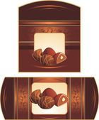 Chocolate candies with nuts. Two patterns for wrapping — Stockvector