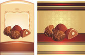 Chocolate candies with nuts. Two wrapping — Vector de stock