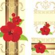 Red flowers on the decorative ribbon with ornament. Set for design - Stock Vector