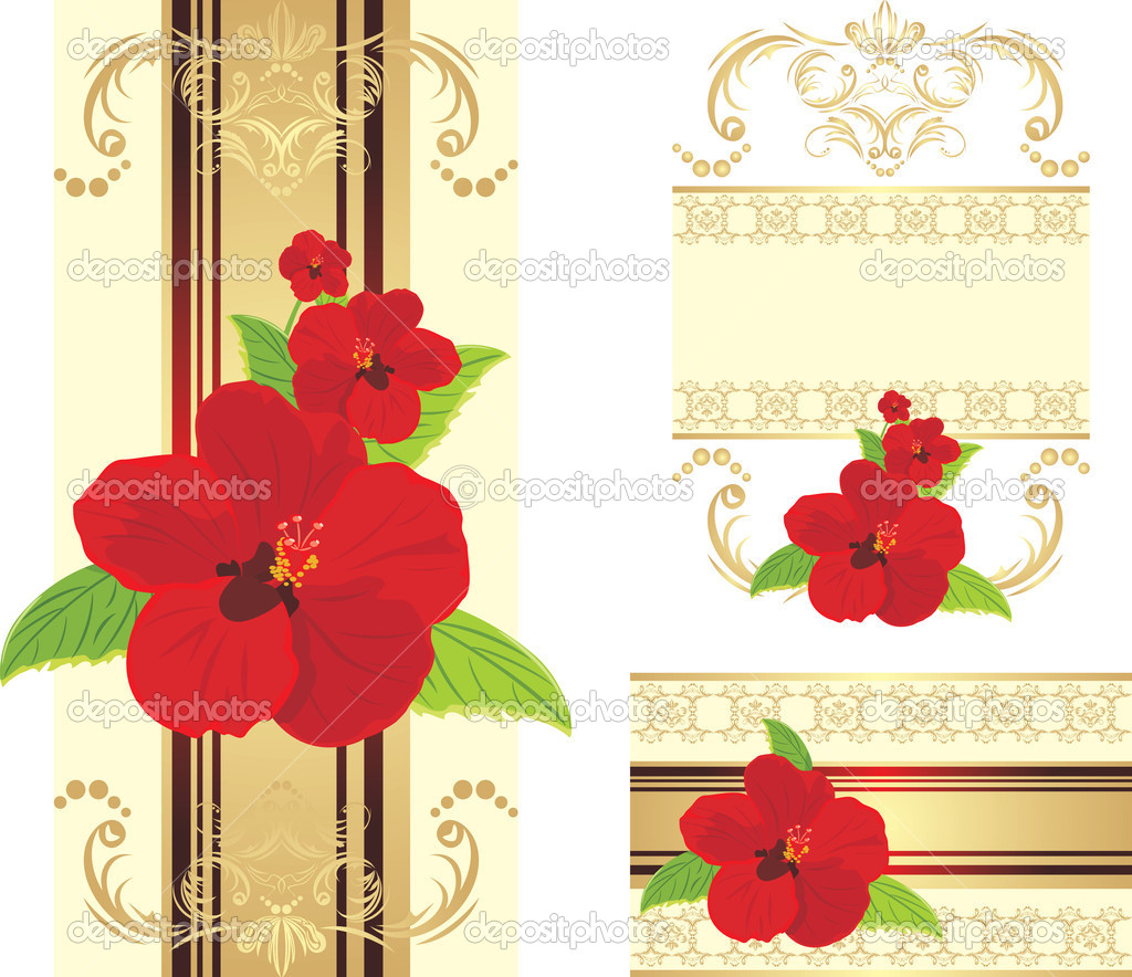 Red flowers on the decorative ribbon with ornament. Set for design. Vector illustration — Stock Vector #6855761