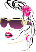 Portrait of beautiful woman with glasses — Stock Vector