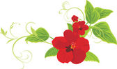 Red flowers with sprigs — Vector de stock