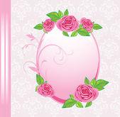 与玫瑰装饰背景上的帧。节日卡 — 图库矢量图片