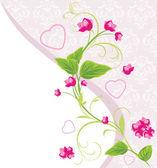 Rosa blüten mit herzen auf den dekorativen hintergrund. valentinstag-karte — Stockvektor