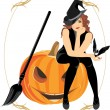 Sitting witch on the halloween pumpkin. Festive frame — Imagens vectoriais em stock