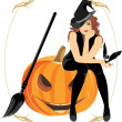Sitting witch on the halloween pumpkin. Festive frame — Imagen vectorial