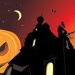 Royalty-Free Stock Vector Image: Pumpkin and night castle. Halloween banner